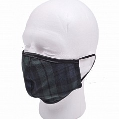 Tartan Face Mask, Black Watch This face mask has an outer layer of hypoallergenic polyviscose cloth and a breathable inner lining, with elastic straps, making them machine washable.