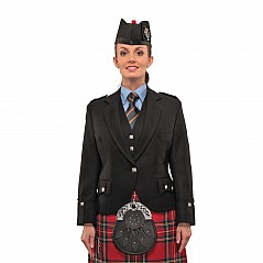 Ladies-PIPER Argyll Jacke 100% Premium 19oz Heavyweight BARATHEA wool. Black (other colours available on request). The Argyll jacket can be worn with or without a waistcoat. The waistcoat