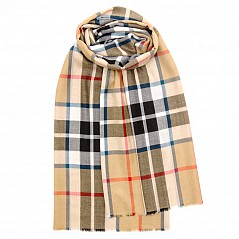 Merino Wool Tartan Stole - Thomson Camel Modern A beautiful super lightweight stole made by Lochcarron of Scotland in one of the finest grades of extra fine merino wool. Generously sized, it