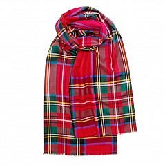 Merino Wool Tartan Stole - Royal Stewart A beautiful super lightweight stole made by Lochcarron of Scotland in one of the finest grades of extra fine merino wool. Generously sized, it works as a