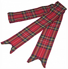 Bagpipe Ribbons in the Royal Stewart Modern Tartan, approx 3 inch width (7.5. cm) . Made of poly viscose fabric.