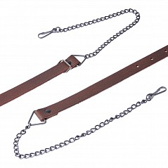 Brown Sporran Strap with a stunning antique chain. Easily adjustable for your comfort and pleasure. Overview of sizes (for seat measurement): S = 78 cm to 92 cm M = 81 cm to 103