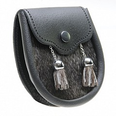 Sporran Pouch features include: Hand made in Scotland 100% real leather Real natural fur* 2 Chromed bell and chained fringed tassels. Snap button closure