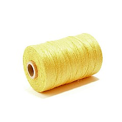 50g yellow bagpipe hemp, unwaxed. Technical info: 50g roll = approx. 360 metres DTEX of this product is 1380 (measuring unit for yarn; 1 gram per 10000 metres)