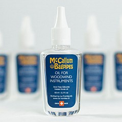 McCallum Bore Oil This bagpipe Bore Oil has a special preservative in it that helps to prevent cracking and warping of the bagpipe due to excessive dryness or over-absorption of moisture