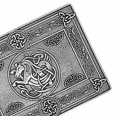 Finest quality traditional Belt Buckle cast from 100% pure Pewter. Stunning celtic pattern border. Features Celtic Horse Design Size: 10 cm X 7,5 cm