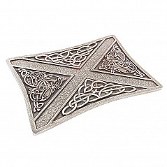 Finest quality traditional Belt Buckle cast from 100% pure Pewter. Elegant Celtic Saltire design. Size: approx. 10 cm X 7,5 cm