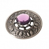 Plaid Brooch Antique, Thistle with Stone Amethyst
