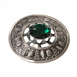 Plaid Brooch Antique, Thistle with Stone Emerald green