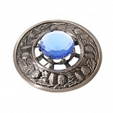 Plaid Brooch Antique, Thistle with Stone Sapphire blue