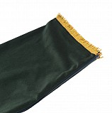 Bagpipe Cover, Velvet with Lurex fringing. ZIPPER. Dark green/Gold